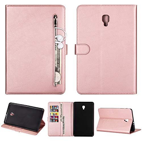 SEEYA Tablet Case for Samsung Galaxy Tab A 8.0 2017 SM-T380 PU Leather Tablet Magnetic Clasp Protective Case Wallet Smart Zipper Flip Cover with Stand Card Slots Rose Gold
