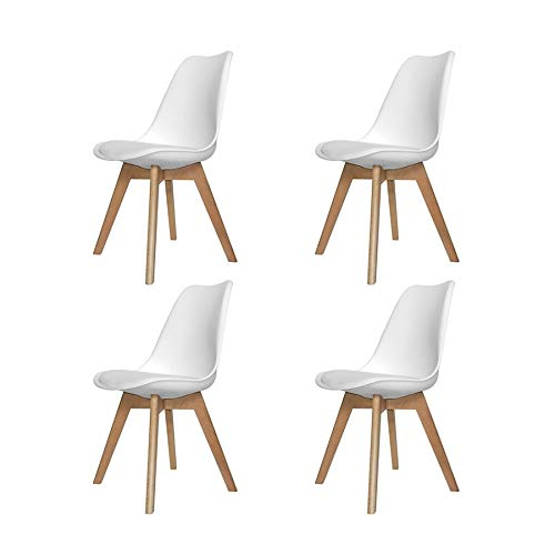 Ventemeublesonline Pack 4 CHAISES New Tower Wood Blanch
