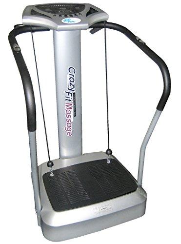 @tec Vibrationsplatte, Vibration Trainings-Gerät für Bauch Beine Po Crazy-FIT-Massage - effektiver Vibrationstrainer - 4 Programme - 2 Fitnessbänder - Steuerpult mit LED Anzeige, Balancetraining