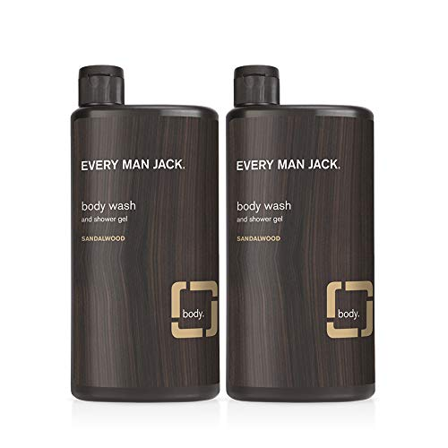 Every Man Jack Men's Body Wash - Sandalwood | 16.9-ounce Twin Pack - 2 Bottles Included | Naturally Derived, Parabens-free, Pthalate-free, Dye-free, and Certified Cruelty Free
