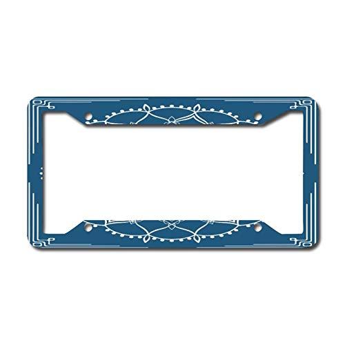 Marco decorativo para placa de matrícula frontal de coche, etiqueta de vanidad de Paisley de zafiro, placa de metal para coche, placa de matrícula de aluminio, 15,5 x 30,5 cm