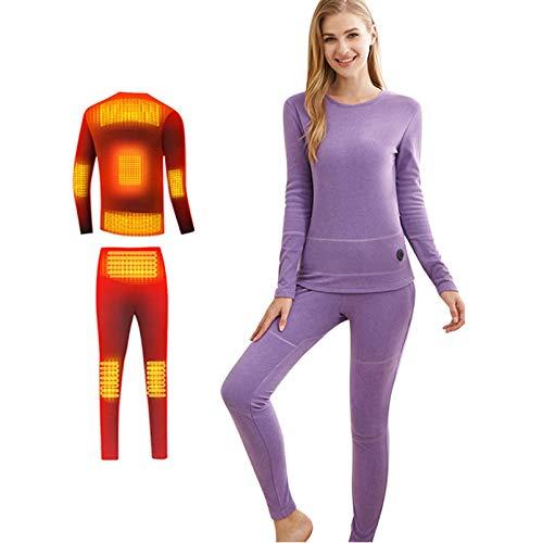 Yeah-hhi Ropa interior térmica para mujer con ajuste inteligente de temperatura constante de tres velocidades, 8 zonas de calefacción, camisa + pantalones, morado, XXL