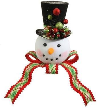 "RAZ 14"" PLAID SNOWMAN HEAD Tree Topper"