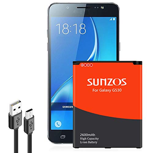 Galaxy J3 Battery, SUNZOS 2600mAh Li-ion Replacement Battery for Samsung Galaxy J320A J320V EB-BG530BBU EB-BG530BBE J5-G530P [3 Years Warranty]
