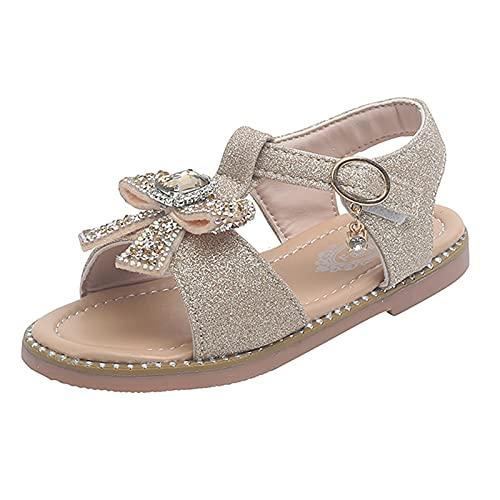 ddfd Sandalias Niña, Niñas Bowknot Lentejuelas Rhinestone Sandalias con Punta Abierta Zapatos de Princesa