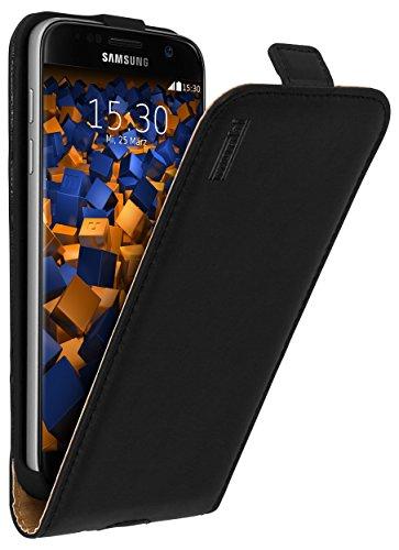 mumbi Echt Leder Flip Case kompatibel mit Samsung Galaxy S7 Hülle Leder Tasche Case Wallet, schwarz