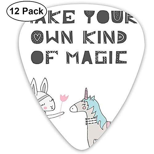 Gitaar Picks 12-Pack,Bunny In Een Jurk Met Eenhoorn In Scandinavische Stijl En Motivationele Magic Quote