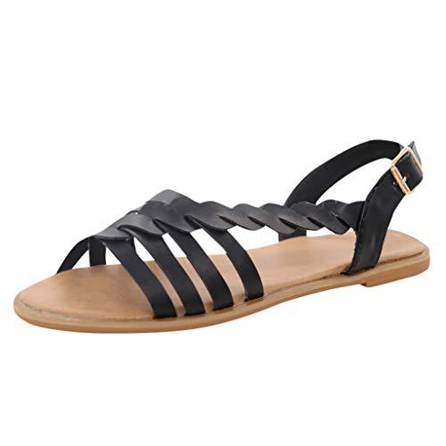 AIni Sandalias para Mujer con Plataforma De Cuero Sandalias Retro Romanas Sandalias Planas Mujer Verano Elegante Estilo Bohemia Sandalias Cruzadas Zapatillas De Vestir Zapatos De Fiesta Playa,35-43
