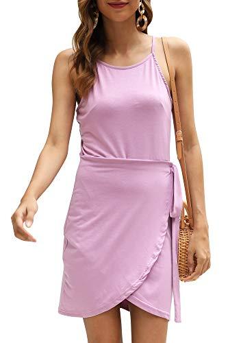 Manydress Women's Summer Spaghetti Strap Sheath Casual Elegant Sleeveless Slip Mini Tie Wrap Dress MY060