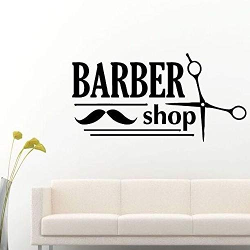 wZUN Wandtattoo abnehmbare Friseur Schnurrbart Schere Wandaufkleber Schönheit Friseursalon Dekoration Friseur Logo Logo Tapete 112x57cm