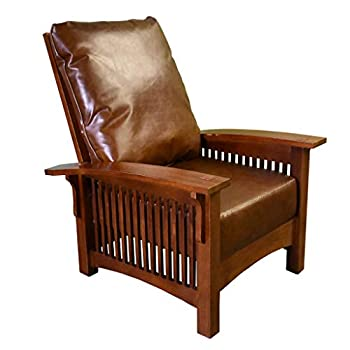 Crafters and Weavers Craftsman/Mission Leather and Oak Morris Chair - Chestnut