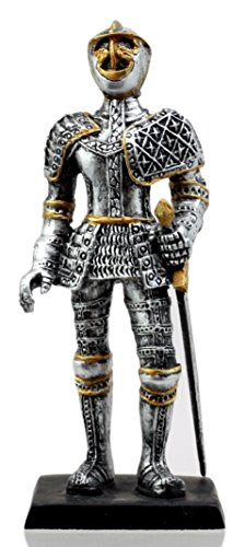 Ebros Gift Medieval French Knight Dollhouse Miniature Figurine 4' H Suit of Armor Swordsman Sculpture Decor