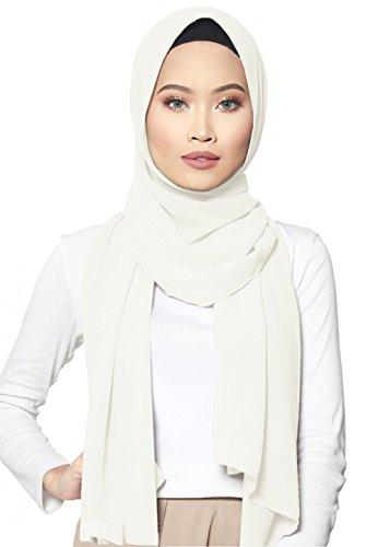 SAFIYA - Hijab Kopftuch Halstuch für Damen I Kopfbedeckung 75 x 180 cm I Islamische Muslim Gesichtsschleier, Schal, Haartuch, Pashmina, Turban I Chiffon - Weiß