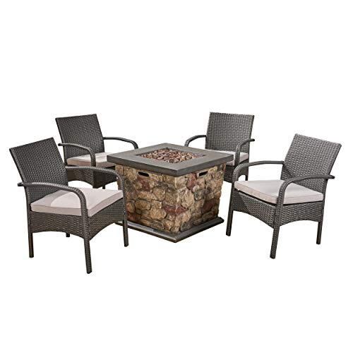 Mavis Patio Fire Pit Set, 4-Seater with Club Chairs, Wicker with Outdoor Cushions, Gray, Light Gray, Stone Finish