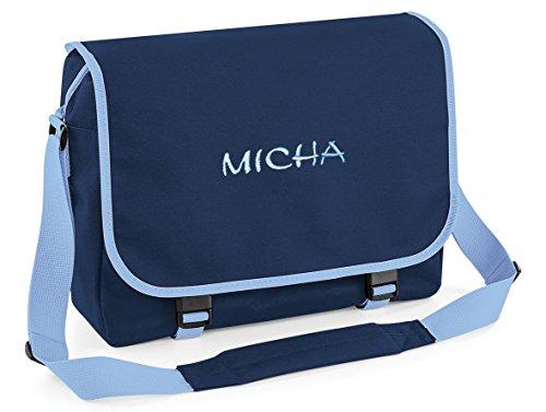 Umhängetasche, Messenger Bag mit Name, Navy/hellblau, personalisiert Bestickt, Mitteilung Text r.o. jetzt anpassen