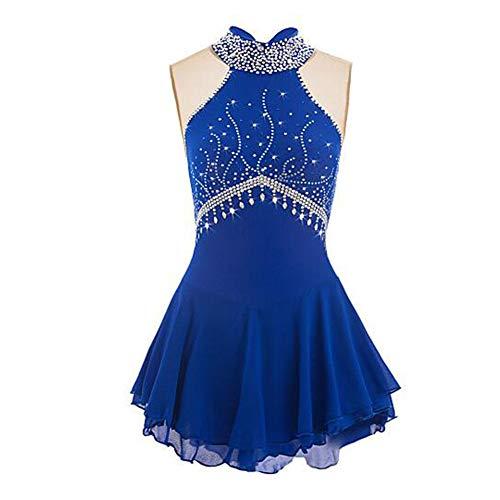 LWQ Eiskunstlauf-Kleid, Frauen-Mädchen Eislaufen Kleid Aquamarin Spandex Elastan hohe Elastizität-Wettbewerb Skating tragen handgemachte Jeweled Strass,L