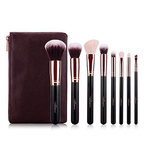 QXX-Make-up Brush Ensemble de pinceaux de Maquillage avec Sac de Rangement de Voyage, correcteur de Fond de mélange Kabuki Tools (8 pièces, Or Noir)