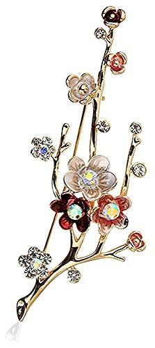 Lzpzz Broche de cristal para mujer, con diamantes de imitación, para bufanda, suéter, chal, broches, joyería para mujer, boda, color ciruela