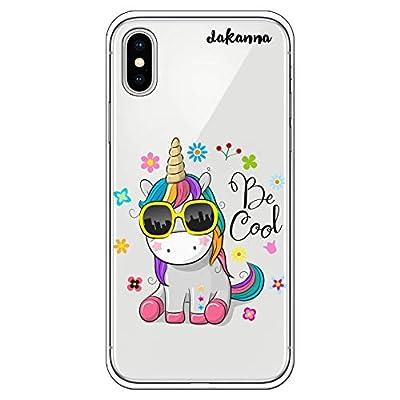 dakanna Funda para iPhone X - XS | Unicornio con Gafas Frase: Be Cool | Carcasa de Gel Silicona Flexible | Fondo Transparente