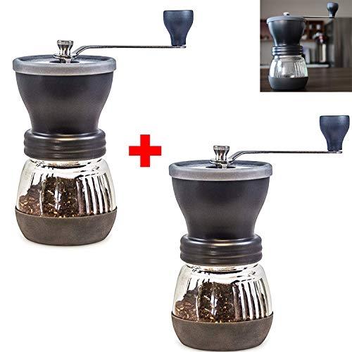 Handmatige koffiemolen 2 Pack - Conische keramische braam - Omdat handgegronde koffiebonen smaken best, oneindig instelbare maaltijd, glazen pot, roestvrij staal gebouwd om duurzaam, rustig, draagbaar