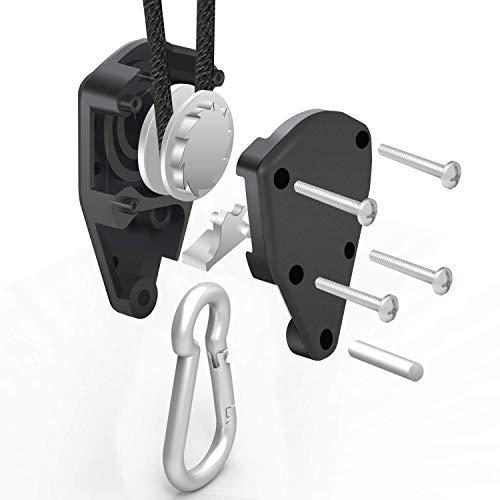 iPower 6-Pack 1/4 Inch 8-Feet Long Adjustable Heavy Duty Rope Clip Hanger, Reinforced Metal Internal Gears,300lb Capacity