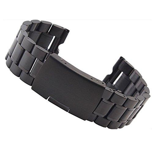 Aohro 22 mm Acero Inoxidable Correa de Reloj Band para Motorola Moto 360 SmartWatch Reemplazo Pulsera Venda Watchband con Instalación de herramientas - ( Solido metal - negro )