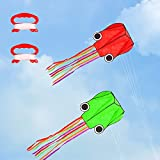 LANGING 2 Pack Octopus Kite Long Tail Beach Kite Easy Flyer Kite Good Toys for Kids and Adults