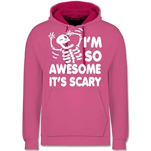 Shirtracer Halloween - I'm so Awesome It's Scary - XL - Rosa/Fuchsia - Geschenk - JH003 - Hoodie zweifarbig und Kapuzenpullover für Herren und Damen