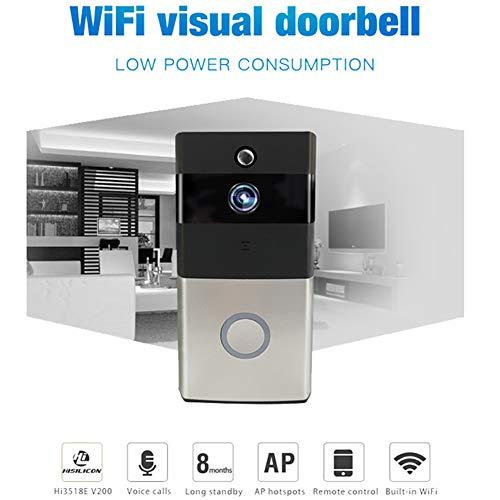 CJF Draadloze Video Deurbel - WiFi Smart HD Deurbel met HD Video Scherm Monitoring PIR Bewegingsdetectie 140 ° Brede Hoek Nachtzicht - Voor Ios/Android
