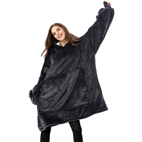Venustas Wearable Blanket Hoodie Oversized Sherpa Blanket Hoodie Sweatshirt are UnisexCozy Warm Soft One Size Fits All Black