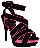 Muse Peep Toe High Heel Strappy Suede Platform Pumps Black 5.5