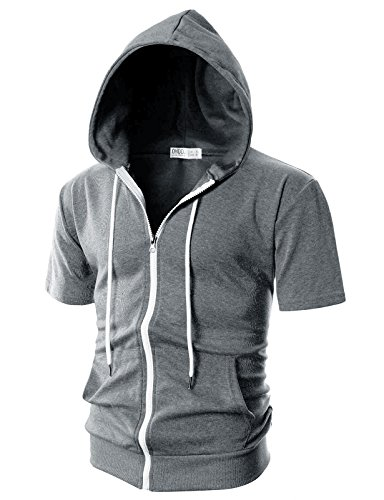 Ohoo Mens Slim Fit Short Sleeve Lightweight Zip-up Hoodie with Kanga Pocket/DCF007-DEEPGREY-XL