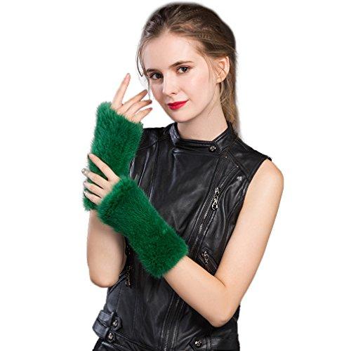 Women's Knitted Real Mink Fur Fingerless Gloves Fashion Winter Warm Gloves (Green) - Fur Story