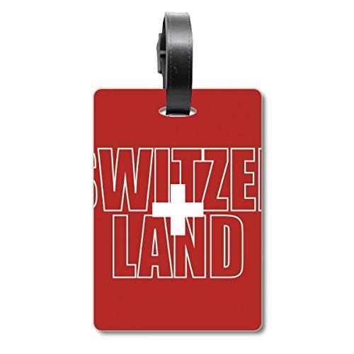 Etiqueta de identificación para Maleta con el Nombre de la Bandera de Suiza