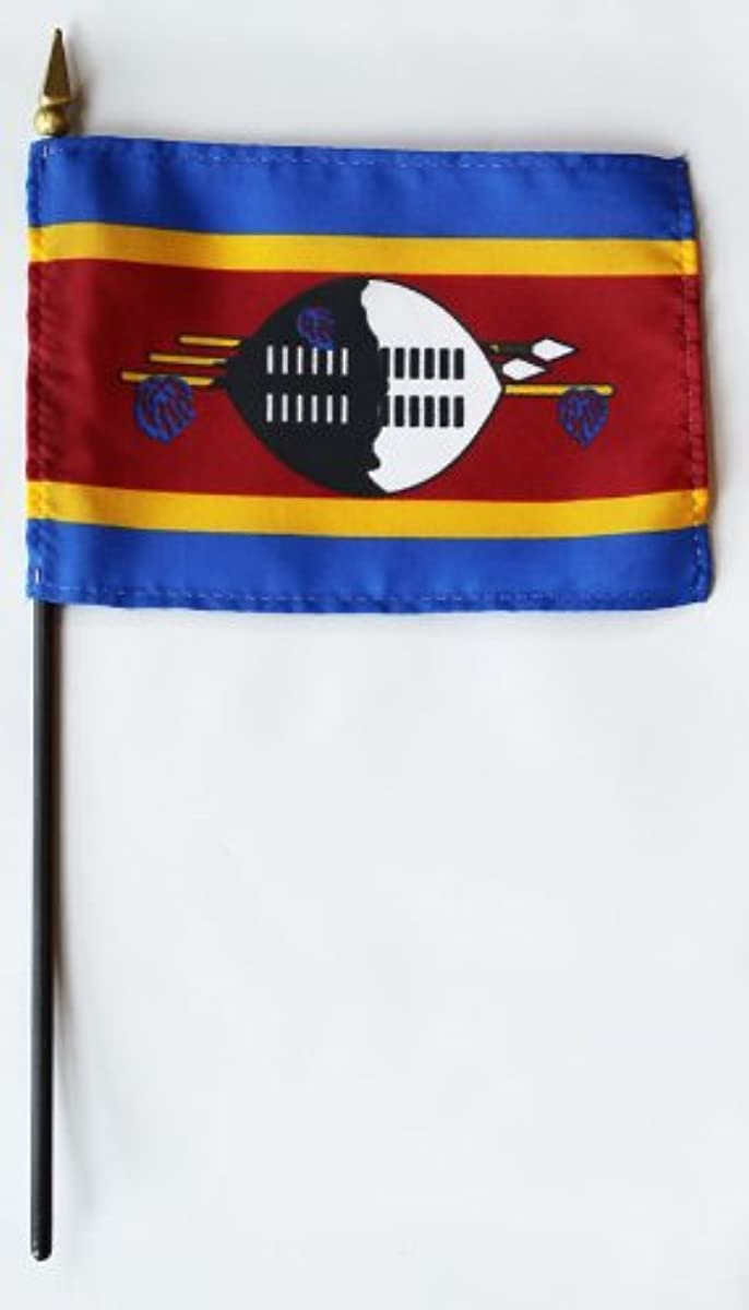 Swaziland - 4 in x 6 in World Stick Flag