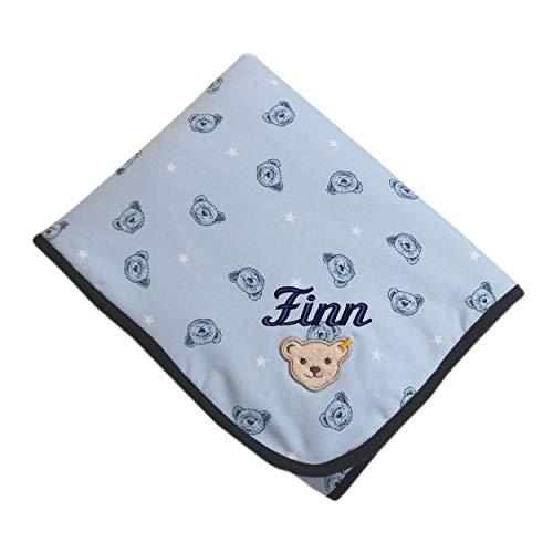 Steiff Babydecke mit Ihrem Wunsch Namen Bestickt Teddy und Sternchen blau Kentucky Blue 90 cm x 60 cm Sternchendecke als Babygeschenk personalisiert