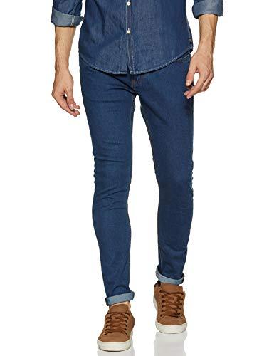 Amazon Brand – House & Shields Men's Skinny Fit Stretchable Jeans (HS20-SK-33B_Medium Blue_32)