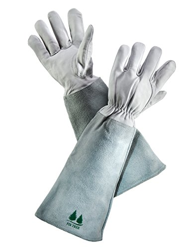 Leather Gardening Gloves by Fir Tree. Premium Goatskin Gloves with Cowhide Suede Gauntlet Sleeves....