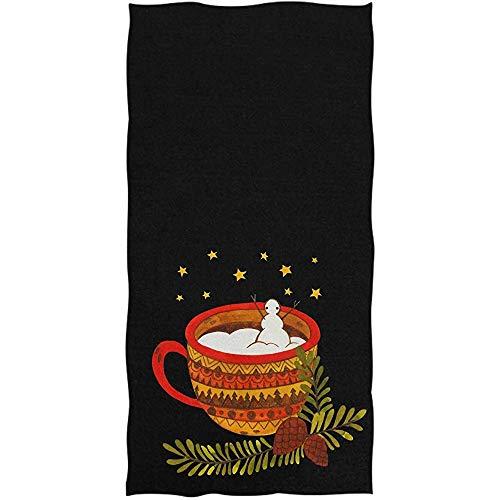 Mathillda Mount Tasse Schnee Schneemann Starry Black Badetücher Hand hochsaugfähig Gast Mehrzweck Für Badezimmer Home Hotel Gym Spa Weiche Große Dekorative