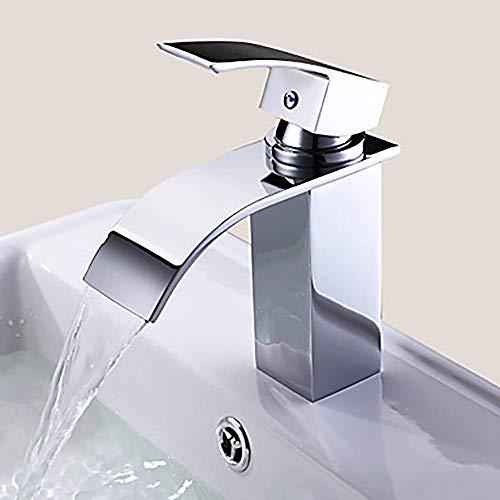 Fácil de Instalar, Grifo de un Solo Orificio en Cascada/Grifo de una Sola manija, Grifo de Lavabo de baño Moderno de Plata para baño de Hotel