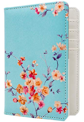 Passport Holder Cover for Women with RFID Blocking Travel Wallet Case, Floral...