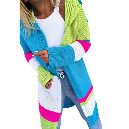 Cardigan Otoño Invierno Ropa Exterior Damas De Color Modernas Casual Mezclado De Empalme De La Mujer Suéter con Capucha De Moda De La Manga Larga De Punto Y Largas Secciones Slim Fit Abrigo