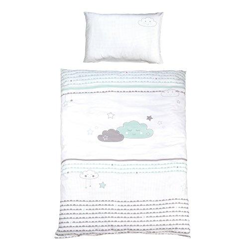 roba Bettwäsche 2-tlg, Kollektion 'Happy Cloud', Kinderbettwäsche 100x135 cm, 100% Baumwolle, Decken-& Kissenbezug für Babys & Kinder
