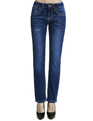 Camii Mia Pantalones Vaqueros Térmicos con Forro Polar de Invierno Slim Fit para Mujer (30W x 30L, Azul)