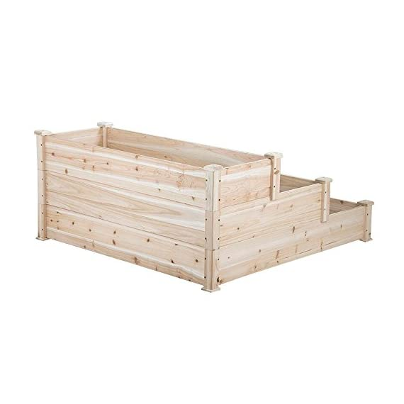 YAHEETECH 3 Tier Wooden Raised Garden Bed Elevated Planter Box Kit Outdoor Solid Wood 49''x49''x21.9'' 8 Selected material – Our raised garden bed is made of no paint, non-toxic 100% fir wood, which is known for its strength and dimensional stability as well as its natural resistance to rot and pests. The 1.5cm/ 0.6'' thick solid wood boards are only sanded to prevent any undesired injury caused by wood splinters. Useful & Practical – With this helpful planter, you can cultivate plants like vegetable, flowers, herbs in your patio, yard, garden and greenhouse, and make them more convenient to manage. Customizable design – This elevated planter provides 3 growing areas for different plants or planting methods. Each tier is connected with wood plugs, which allows this 3-tier garden bed to be easily transformed into 3 separate growing beds in different sizes if needed.