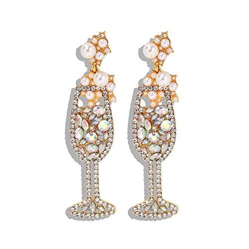Europäische Station heißer Verkauf Diamant Weinglas Ohrringe romantische Rotwein Champagner Damen Datierung Ohrringe farbige Diamant Ohrringe
