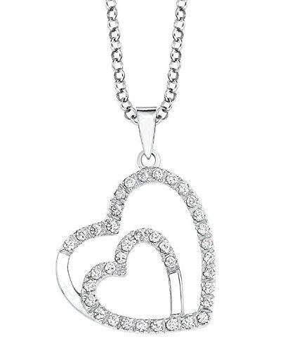S.Oliver Damen Kette mit Herz-Anhänger 925 Sterling Silber rhodiniert Zirkonia 45 cm weiß