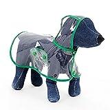 Tuzi Qiuge Hunde-Regenmantel, Kleiner und mittlerer Hund Haustier Leichter Wasserdichter Teddy-transparenter Plastik-Poncho yooo (Color : Green)
