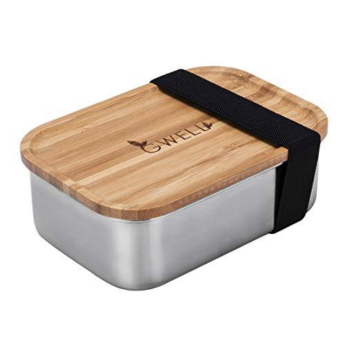 GWELL Brotdose aus Edelstahl 100{bbf6b32af48f032c01d8734329ce0b2b3b1bafaa02af9a63418b7fbfcf664bb7} plastikfrei mit Bambusholzdeckel und Schneidbrett Sandwichbox Lunchbox für Kinder und Erwachsene 800ml 1200ml Vesperdose Bentobox Edelstahl (1200ml)