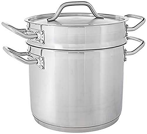 Winware 8 Quart Stainless Steel Double Boiler with Cover